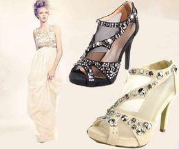 los zapatos 2015 zapatos de la manera de las mujeres con los zapatos del partido del dedo del pie del pío del alto talón de los zapatos de vestido de cristal zapatos de la boda desnudos # 273