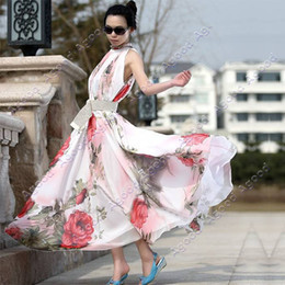 Wholesale New Women Lady Sleeveless Chiffon Flouncing Long Sundress Dress Maxi Dresses