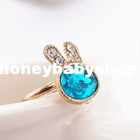 Wholesale Factory outlets Korean exquisite Diamond Gemstone Rings bunny stall selling jewelry multicolor into