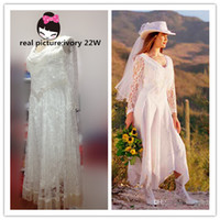 Wholesale Plus Size Real Pictures Western New Arrival Modern A Line V Neck Tea Length Lace Garden Wedding Dress Free Christmas Gift