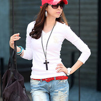 Women Polo Tops 2013 new fashion women clothing t shirt korean style punk sexy tops tee hot trendy clothes Long sleeve V-neck Slim #L0341543