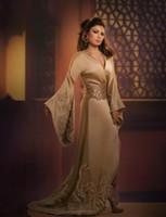 Wholesale 2014 Arab Haifa Wehbe Long Poet Sleeve Formal Evening Dress Empire V Neck Sweep Train Applique Sparking Beaded Hot Corset Celebrity Dress