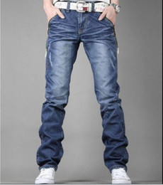 Wholesale Men s Jeans Slim Fit Straight Trousers Zipper Style dropshipping