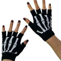 Wholesale New Black Punk Gothic Dark Rock White Skeleton Hand Warmer Half Finger Gloves Skeleton Gloves Fingerless Goth Deathrock GLV017