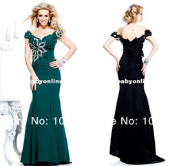 Wholesale off the shoulder sexy formal evening dresses applique sequins floor length backless cap sleeves mermaid prom gowns TE92200