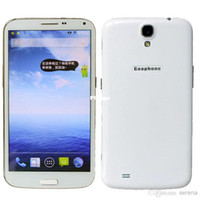 6.0 Android 2G Wholesale - Goophone S4 Mega s5 note 5 Android Phone 2G RAM MTK6589T 1.5G Quad Core Android 4.2 OS 6.44 Inch 1080P Screen