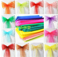 Wedding Mixed  Free EMS DHL 200pcs (25pcs per pack with same color) Wedding Organza Chair Cover Sashes Sash Party Banquet Decoration Decor Bow Colours