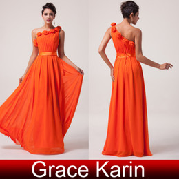 Wholesale Cheap Stock Junior Chiffon Bridesmaid Dresses Floor Length One Shoulder Empire with Hand Made Flower Orange Red Sizes US2 US16 CL6020