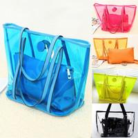 Wholesale 2014 Women Sweet Jelly Clear Transparent Bucket Shoulder Bag Beach Tote PVC Handbag color bag in bag BAG2 DHL free