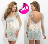 Wholesale 2015 short sheath prom dresses Sheer Neck Backless MiNi Crystal Beads Tulle Long Sleeves Cocktail Homecoming Dresses XO001
