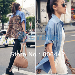 Wholesale Hot Sale Fashion Womens Back Leopard Pattern Retro Denim Top Button Shirt Blouse Loose