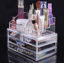 Wholesale Cheap Price Transparent Makeup Box Acrylic Cosmetics Organizer Desktop Clear Box storage Case Large For Women Gifts AF1