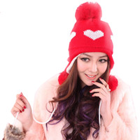 Wholesale Women s Ladies Korea Knit Crochet Heart Beanie Pom Pom Ear Flap Earmuff warm winter hats Cap Pink Red White