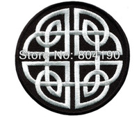 Wholesale Black White Celtic knot Irish goth biker vest tattoo wicca magic sew sewing applique iron on patch Kids Girls Dress Patch Badge