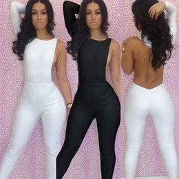 Wholesale New Fashion One Shoulder White Black Jumpsuit Bandage Dress Hollow Out Backless Bodycon Dress Sexy Women Dresses For Party