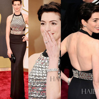 Wholesale 2014 Oscars RED CARPET ARRIVALS Celebrity Dresses ANNE HATHAWAY Sleeveless Halter Backless Evening Gowns