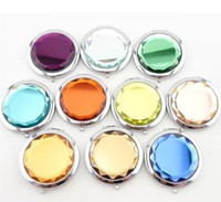 Gold Plating pocket mirror - Crystal portable mirror mix colors Compact Mirror Cosmetic Pocket Hand Makeup Mirror Wedding Favor Personalized Xmas Wedding Gift