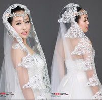 Two-Layer ivory lace - 2014 Luxury Crystal Ivory Lace Wedding Veils Bridal Veils With Lace Wedding Favor Veils Cheap Lace Wedding Veil In Stock Cheap Wedding Veils