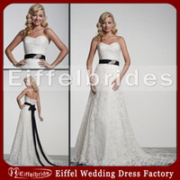 Wholesale 2014 Vintage Wedding Dresses Lace with A Sexy Sweetheart Neckline and Embellished Long Beaded Black Sash Lace up A line Ivory Bridal Gowns