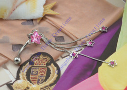 Wholesale L Stainless Steel Pink Star Cubic Zircon CZ Dangle Navel Belly Barbell Ring Bar