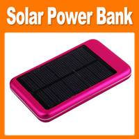 Wholesale 5000mAh Solar Power Bank Solar Energy Panel External Backups Battery with AC DC Adapter for Mobile Phone PAD Tablet lower price