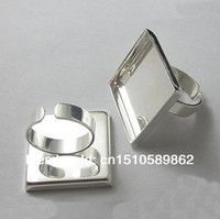 Wholesale High quality mm square Adjustable Ring Bases Blanks Sterling Silver Plated Jewelry findings