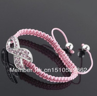 Beaded, Strands South American Women's Pink Crystal Rhinestone Ribbon Breast Cancer Connector Sideways Macrame Shamballa Bracelets FREE SHIPPING