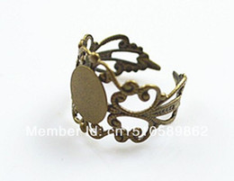 Free Shipping!!! Wholesale 100pcs 8mm Flat Pad Filigree Adjustable RING BLANK BASE The copper plating qing ancient
