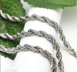 Fine 316L Stainless steel 4mm Twist Chain Necklace,19'