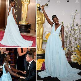 Wholesale 2014 th Oscars Annual Academy Awards Best Dressed LUPITA NYONG O Plunging V Neck Pleated Chiffon Celebrity Dresses Without Beading DHyz