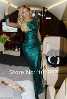 Wholesale 2014 New Green Beyonce Glittery Sequined Long Evening Dresses Mermaid Long Sleeve Celebrity Dresses BO5206