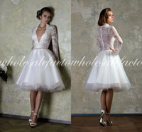 Wholesale 2014 Summer Beach Wedding Dresses Sexy Deep V Neck Sheer Appliqued Lace Long Sleeve Backless Knee Length White Organza Short Bridal Gowns