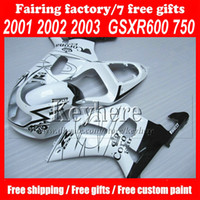 Wholesale Custom ABS Fairing Kit for Suzuki K1 GSXR R750 GSXR600 GSXR750 WHITE CORONA Extra fairings kit Free gifts