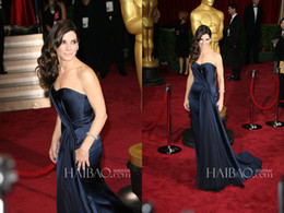 Wholesale 86th Oscars Academy Awards Red Carpet Celebrity Dresses Ruffle Sweetheart Neck Zip Back Sweep Train Sandra Bullock Formal Evening Gowns