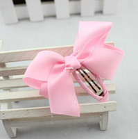 Wholesale Large solid color grosgrain ribbon bow hair clips BB clip children hair clip side