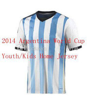 Soccer Boys Short 2014 World Cup Argentina Home Youth Soccer Jersey New Arrival National Team Brand Kids Football Shirts Hot Sales Soccer Uniform Kit Cheap