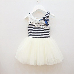 Wholesale Sales Tutu Skirts - hot sale new summer girls tutu dresses girls sleeveless lace dress girls white green pink strip bow tutu skirts dress for 2-6T