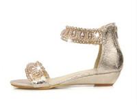 Wholesale 2013 bridesmaid shoes Flat shoes sandals women diamond gold wedding bride princess shoes big size US3 US10 NSLX1