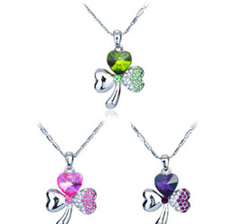 Hot Product Three Colors Three Leaf Necklace Crystal Pendant Necklaces Fashion Clover