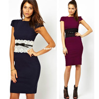 Wholesale Drop Shipping Color Blocking Wear To Work Womens Career Pencil Midi Dress Bodycon Bandage Knee Length Slim Evening Dress