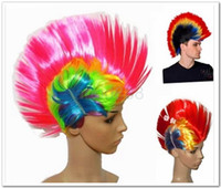 Wholesale Halloween hair wigs Mohawk wigs Mohican hair style wigs Party hair wigs colorful hair wigs Fans hair wigs