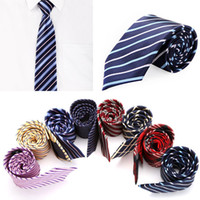 Wholesale New Fashion Woven Men s Tie Stripe Neck Tie Jacquard Wedding Groom Party Polyester Necktie Apparel Accessories colors