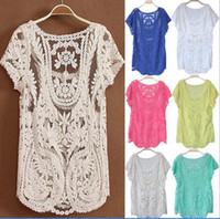 Women Cotton Hollow Out Shopping festival ladies lace s short sleeve s & shirts spring 2014 blusas femininas dudalina female shirts