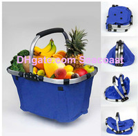 Wholesale 20pcs Waterproof Folding Market Tote Basket Reuseable Grocery Shopping Bag for Wine Beverages Snacks Fruit Vegetable