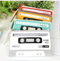 bag cassette - New Vintage Creative cassette design MINI canvas coin bag pencil pouch box cosmetic pencil holder bags