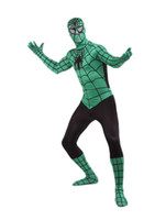 Wholesale Hot Sale Halloween Costume Green Lycra Spandex Black Stripe Zentai Suit Inspired by Spiderman superman r93 u6 gb