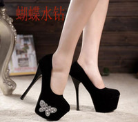 Wholesale New arrival Women Fashion Sexy diamond Fine with shallow mouth platform CM high heeled shoes