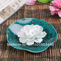 Ceramics Carved  New Handmade Incense Joss Stick Holder Lotus Ash Catcher Ceramic Incense Burners Green