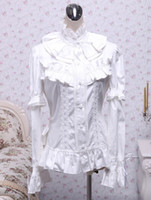 Wholesale 2013 Hot Sale Christmas White Stand Collar Long Sleeves Ruffles Cotton Lolita Sexy Blouse latex clothing r71 u12 Ixk