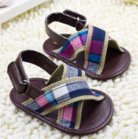 barefoot sandal patterns - 2014 new sandals Brown canvas barefoot sandals Pretty Plaid boy beach sandals Soft bottom toddler shoes china sale pair CL